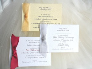 Wedding Anniversary Invitations, Silver, Ruby, Golden and Diamond cards