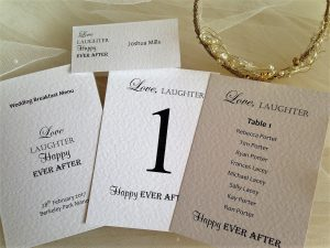 Place Cards, Menus and Table Plans
