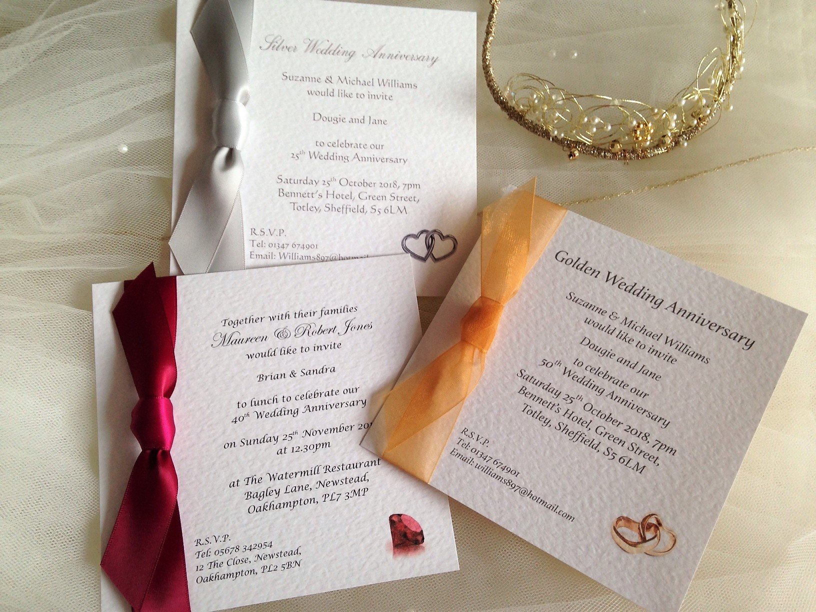 Wedding Anniversary Invitations from 60p each, fast delivery