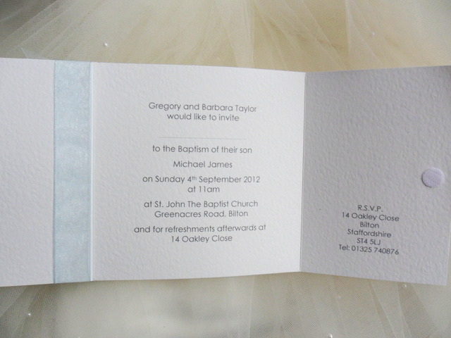 Square Gatefold Christening or Baptism Invitations