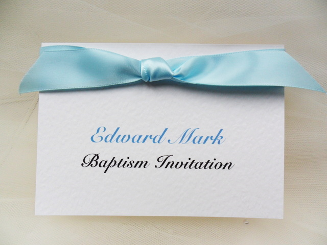 Top Ribbon Baptism Invitations