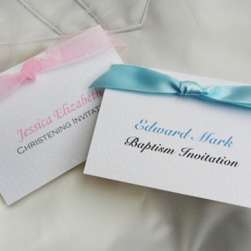Top Ribbon Christening Invitations