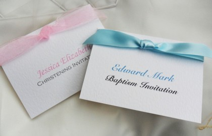 Top Ribbon Christening Invitations