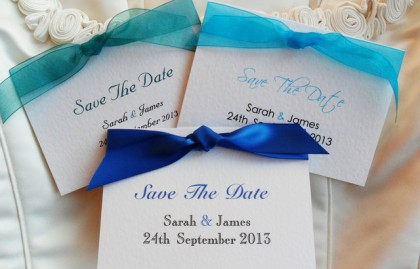 Top Ribbon Save The Date Cards