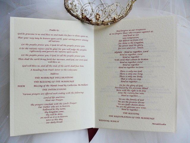 Order of Service with inserts