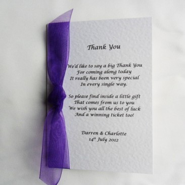 Card Style Lottery Wedding Favour