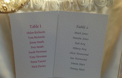 A6 Rectangular Table Plan Cards