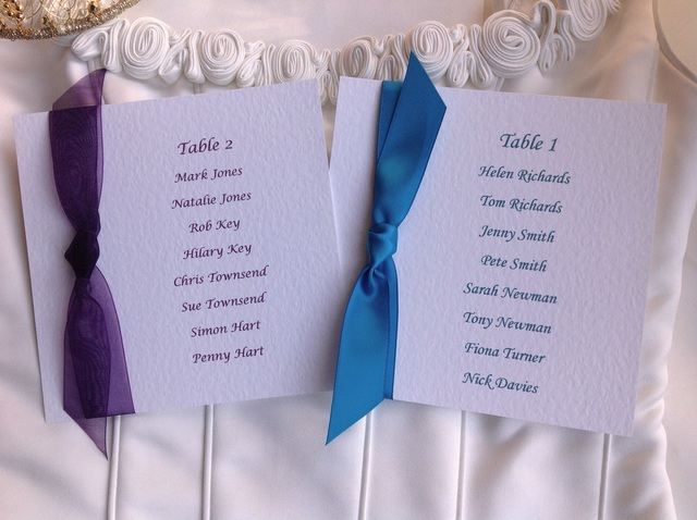 Table Plans - Square Table Plan Cards with Ribbon