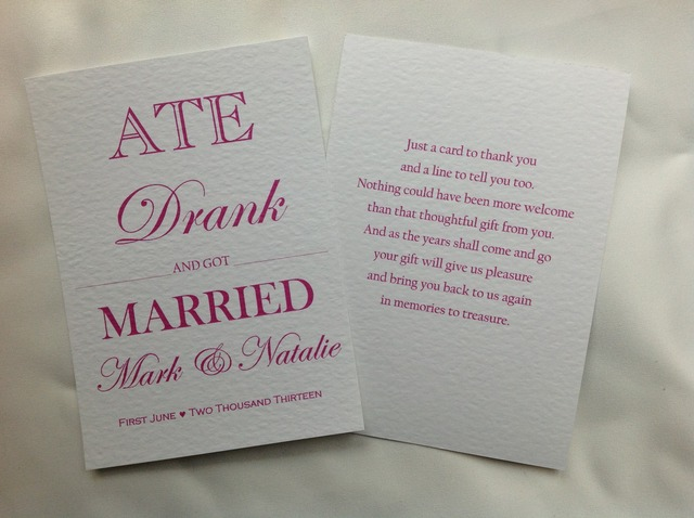 Ate, Drank and Got Married Wedding Thank You Cards