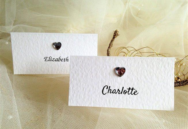 Diamante Heart Place Cards