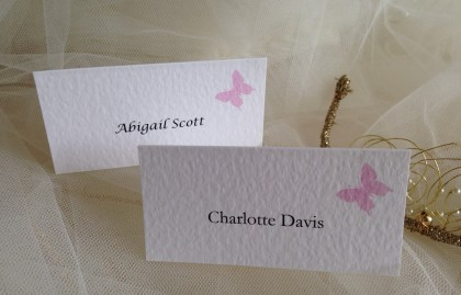 Pink Butterfly Place Cards