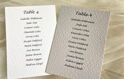 A6 Rectangular Table Plan Cards