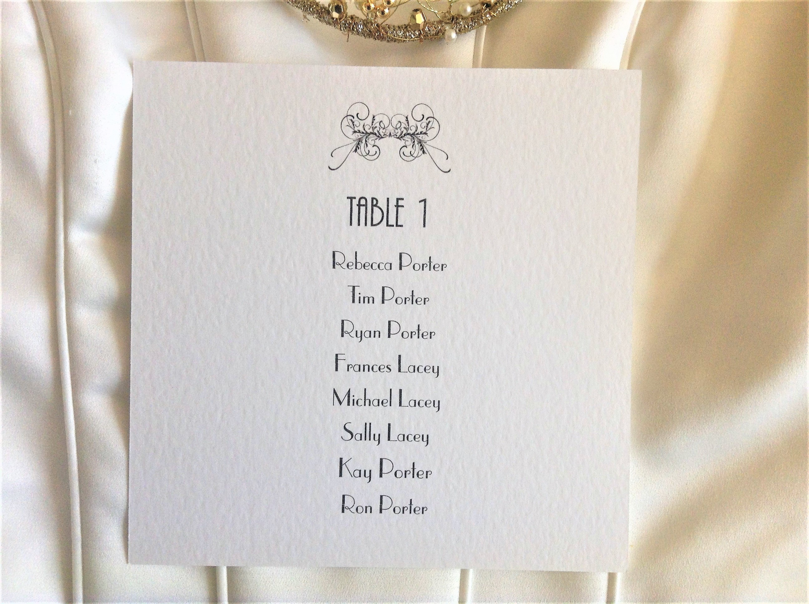 Art Deco Table Plan Cards