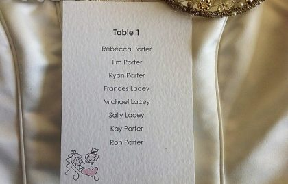 Bride & Groom A6 Rectangular Table Plan Cards