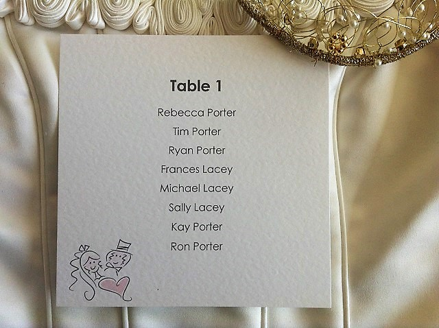 Bride & Groom Square Table Plan Cards