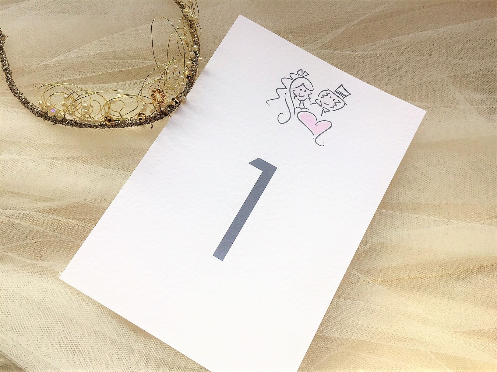 Bride & Groom Table Name and Table Number Cards