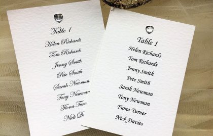 Diamante Heart A6 Rectangular Table Plan Cards