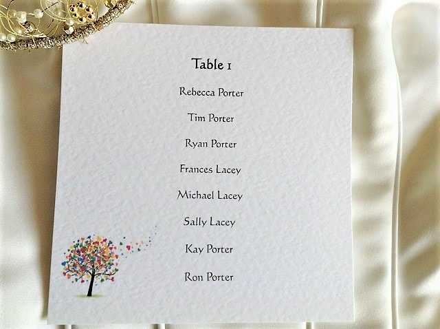 Love Tree Square Table Plan Cards