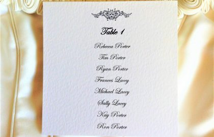 Motif Square Table Plan Cards