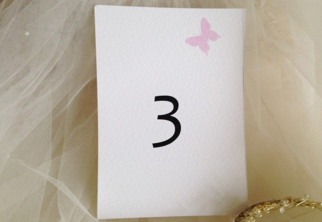 Pink Butterfly Table Name and Table Number Cards