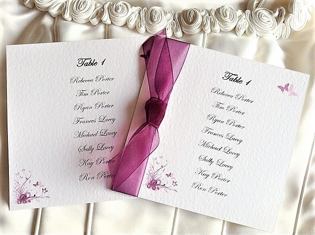 Purple & Lilac Butterfly Square Table Plan Cards