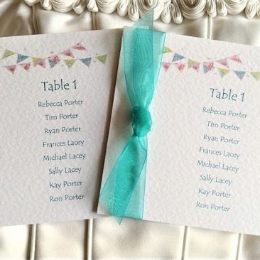 Summer Bunting Square Table Plan Cards