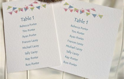 Summer Bunting A6 Rectangular Table Plan Cards