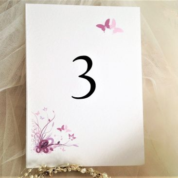 Purple & Lilac Butterfly Table Name and Table Number Cards