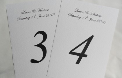 Table Name and Table Number Cards