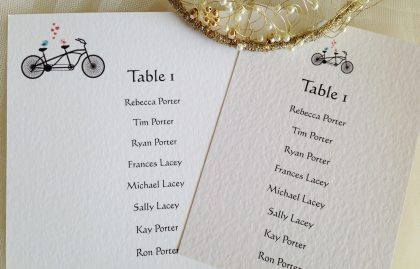 Tandem Bike A6 Rectangular Table Plan Cards