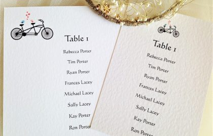 Tandem Bike A6 Rectangular Table Plan Cards