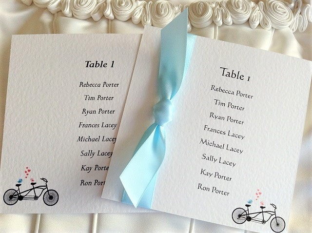Tandem Bike Square Table Plan Cards