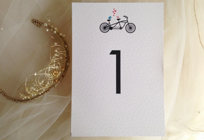 Tandem Bike Table Name and Table Number Cards