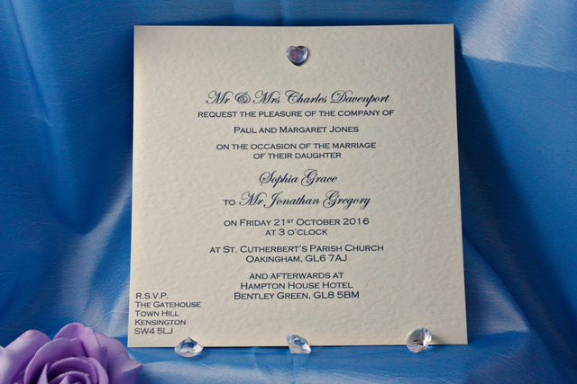 Diamante Heart Wedding Invitations