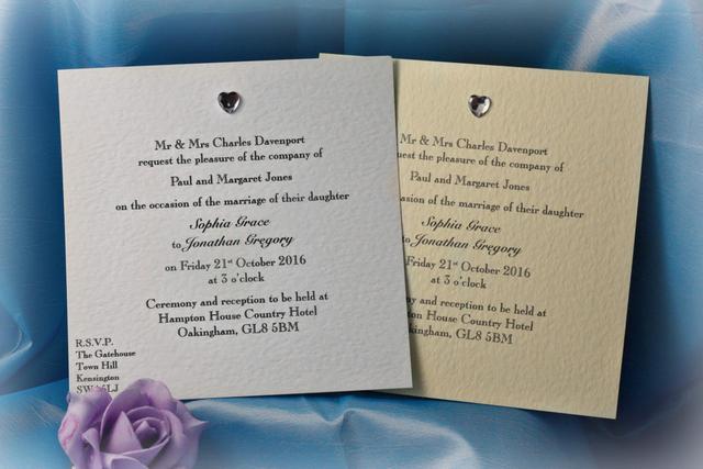 Diamante Heart Square Flat Wedding Invitations