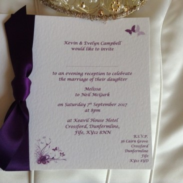 Purple and Lilac Butterfly Flat Square Wedding Invitations