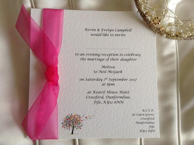 Love Tree Flat Square Wedding Invitations with Ribbon