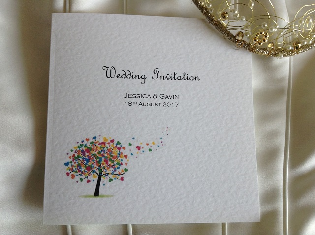 Love Tree Square Centre Fold Wedding Invitations without ribbon