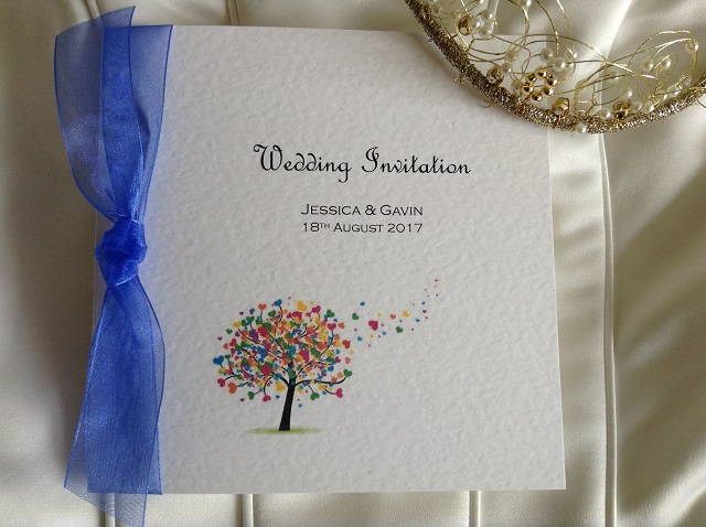 Love Tree Square Centre Folding Wedding Invitations with Ribbon