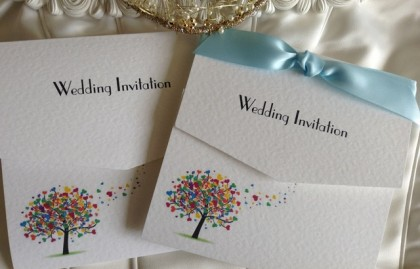Love Tree Tri Fold Wedding Invitations