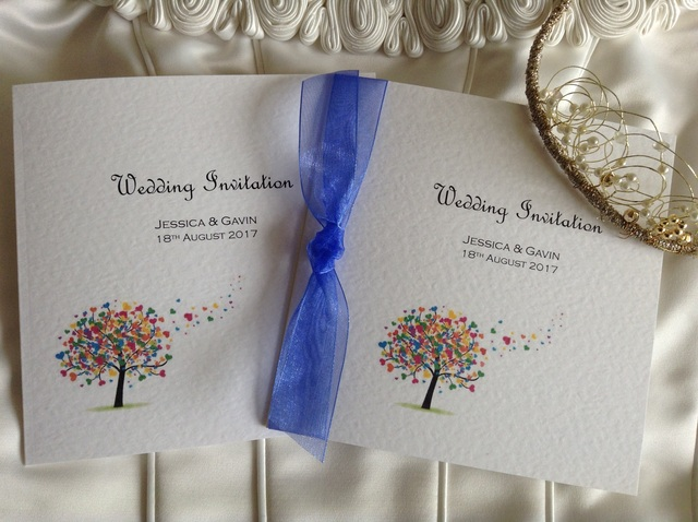 Love Tree Square Centre Folding Wedding Invitations