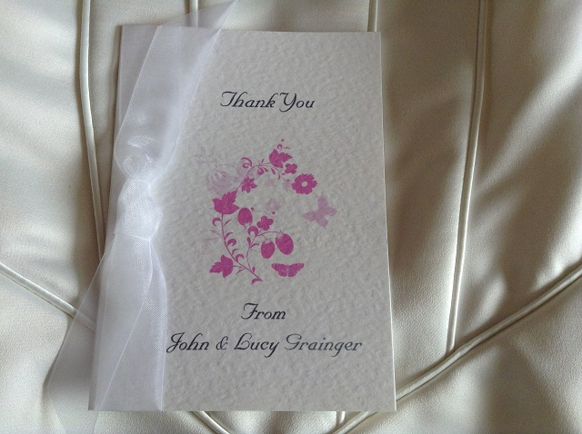 Pink Butterfly Thank You Cards
