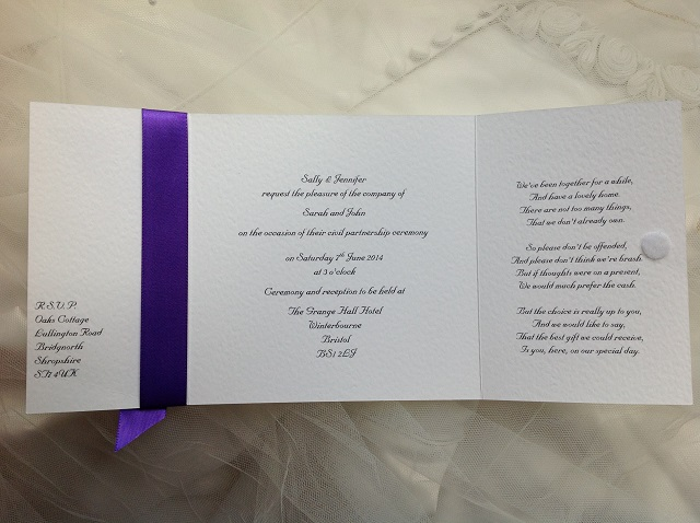 Square Gatefold Wedding Invitations Inside Wording