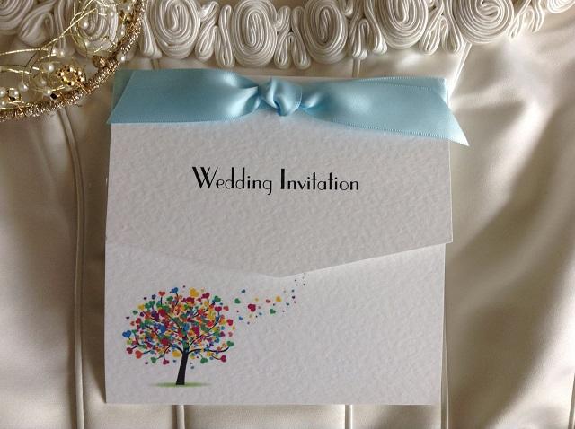 Love Tree Tri Fold Wedding Invitations with Ribbon