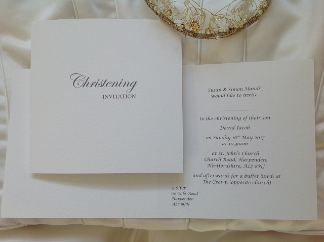 Square Folding Christening Invitations