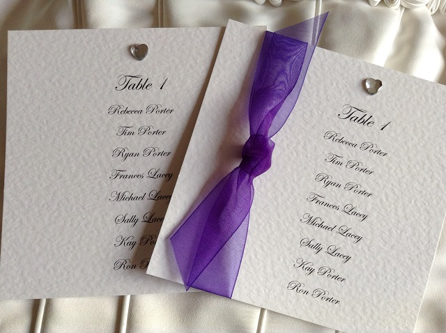 Diamante Heart Square Table Plan Cards
