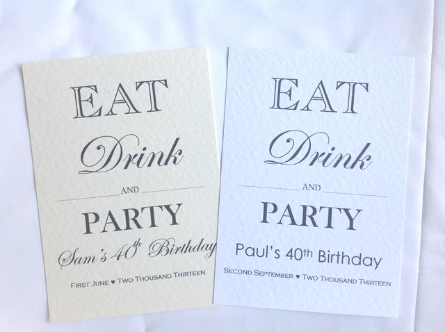 Eat, Drink and Party Birthday Invitations