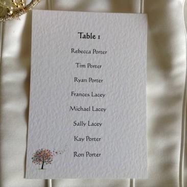 Love Tree A6 Rectangular Table Plan Cards