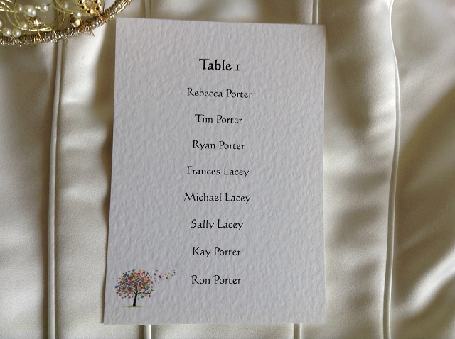 Love Tree A6 Rectangular Table Plan Cards