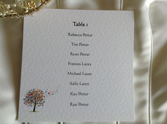 Love Tree Square Table Plan Cards for Table Plans